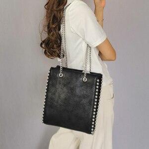 Retro Chains Rivet Large Capacity Tote Bag Women Shoulder Bags Lady Commuting PU Leather Purses Bags Solid Color Bag Bead Bolsa