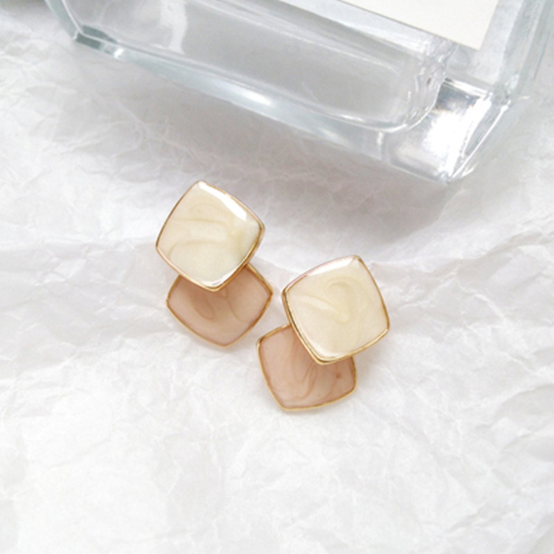 Fashion Jewelry Female Classic Colorful Color Earrings Contracted Geometric Squares Earrings Personality Stud Earrings For Women