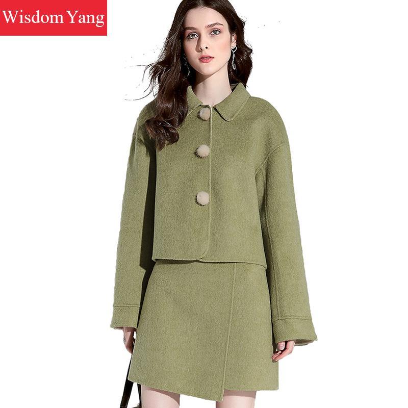 2 Piece Set Winter Autumn Women Sheep Wool Suit Tops Cashmere Fur Coats Green Woolen Overcoat Mini Wrap Skirts Korean Lady Suits