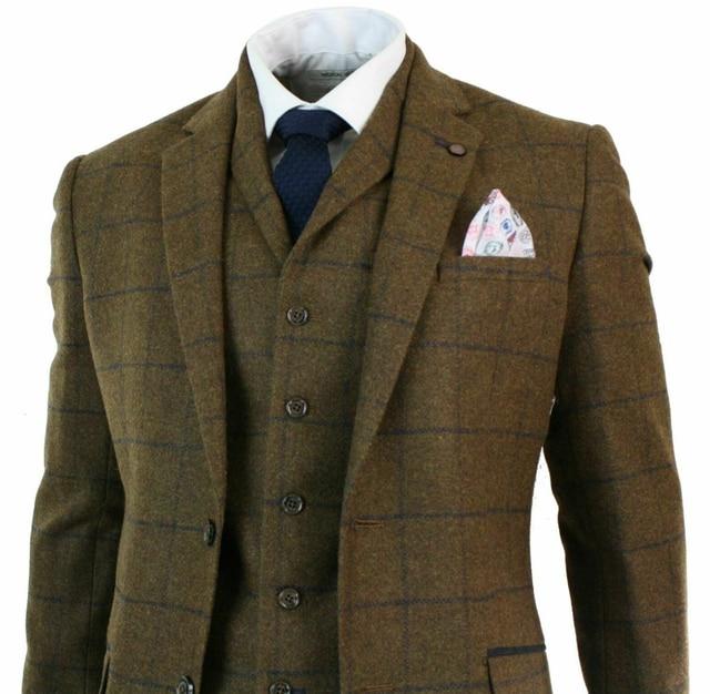 2020 New Mens Herringbone Tweed Tan Brown Check 3 Piece Wool Suit Peaky Blinders Navy Two Button Notch Lapel Mens Suits