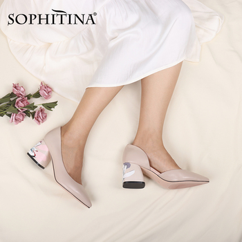 SOPHITINA Womens High Heels Sexy Pointed Toe Sheepskin Flower Printed Square Heeled Shallow Shoes 2020 Ladies Wedding Pumps C172 цена 2017