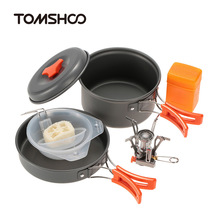 TOMSHOO Outdoor Camping Hiking Cookware with Mini Camping Piezoelectric Ignition Stove Backpacking Cooking Picnic Pot Stove Set mini camping automatic ignition stove portable electronic ignition fogao cooker outdoor cooking camp gaz kamp ocak