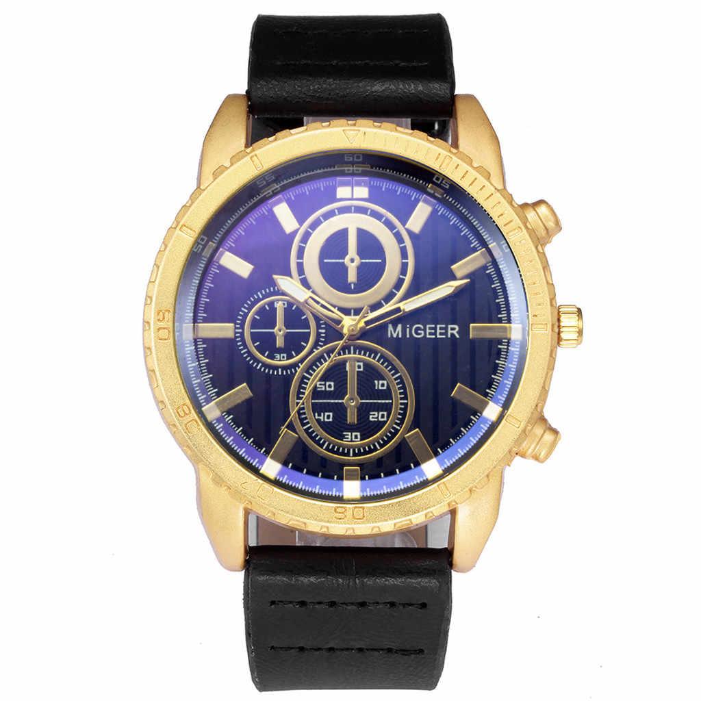 MIGEER High-End แฟชั่นผู้ชายสแตนเลสนาฬิกา Analog ควอตซ์นาฬิกา