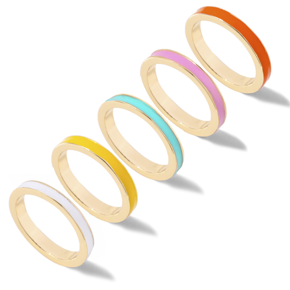 Lost Lady New Candy Color Enamel Rings for Women Fashion Simple Small Finger Ring Wholesale Jewelry Female Bijoux Dropshipping