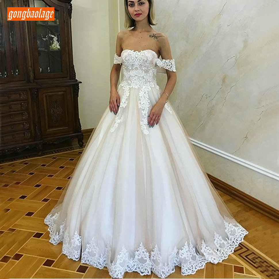 Fashion Boho Long Wedding Gown 2020 Sweetheart Off The Shoulder Women Wedding Dress Custom Made Sweep Train A Line Bride Dresses