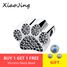 Hot sale 925 Sterling Silver charms dog footprint Beads with CZ stone Fit pandora Bracelets Pendant diy Jewelry making Gifts hot sale 925 sterling silver charms dog footprint beads with cz stone fit pandora bracelets pendant diy jewelry making gifts