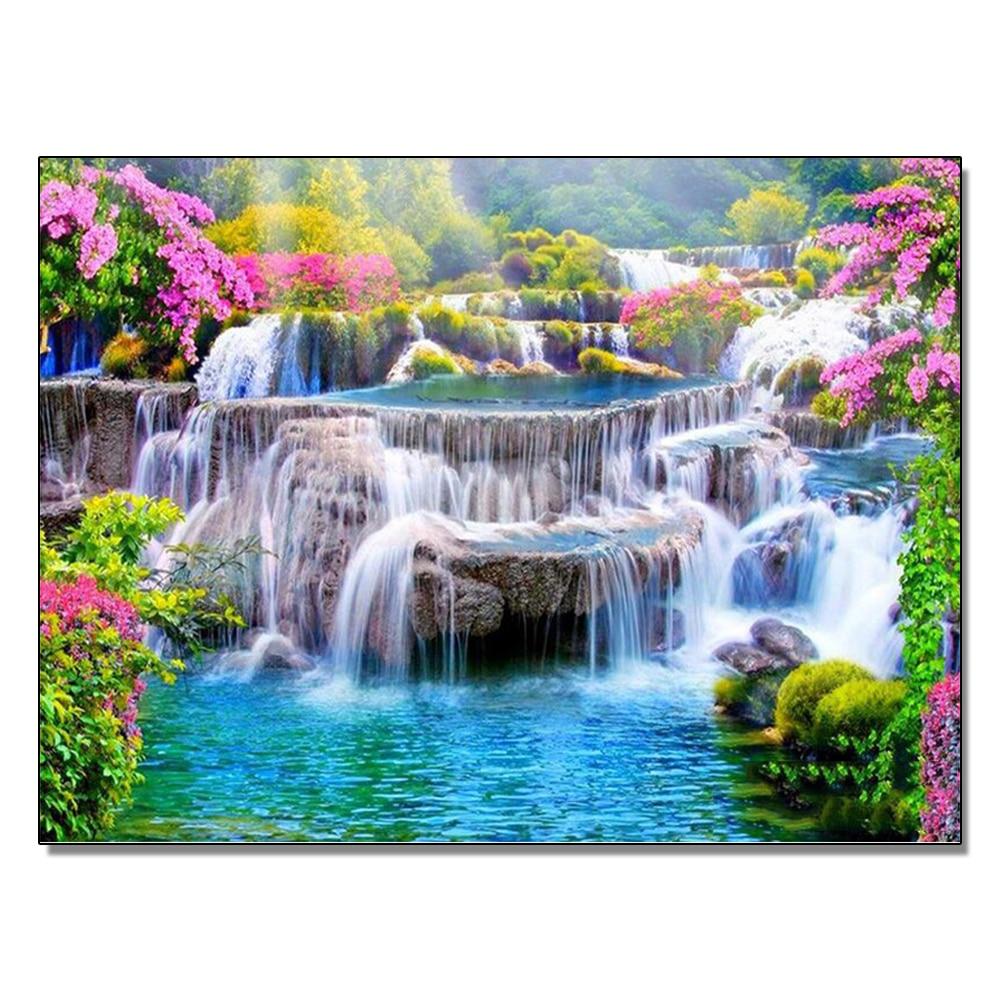 Весенний пейзаж водопад Алмазная картина, полная круглая дрель Diy 5D алмазная вышивка мозаика для рукоделия