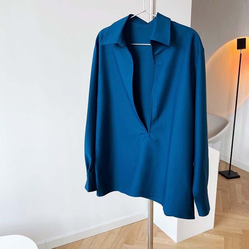Mooirue  2021 Spring New Design Women Shirts Pullovers Light Ripe Long Sleeve V-neck Shirt Women's Fashion Overlay Top