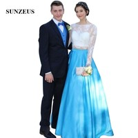 Lace Long Sleeves Top Two Piece Prom Dresses Long Blue Satin Party Gowns 2 Piece