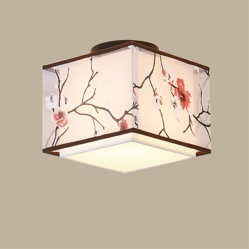 Chinese Ceiling Lights Traditional Living Room Bedroom Led Reading Ceiling Lamp Fabric Lampshade Decor Aisle Lighting Fixtures