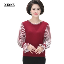 XJXKS 2019 Women Sweater Thin Jumpers Batwing Sleeve O Neck Sweaters Middle aged women Casual Pullovers Tops