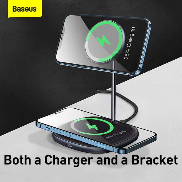 Baseus Magnetic Wireless Charger For iPhone 12 Pro Max Desktop Phone Stand Wireless Charger For Airpods Xiaomi Samsung 3
