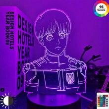 Luz Led de Anime de ataque a Titan Armin para decoración de dormitorio, luz nocturna, regalo de cumpleaños para niños, Shingeki Manga, No Kyojin, lámpara 3d
