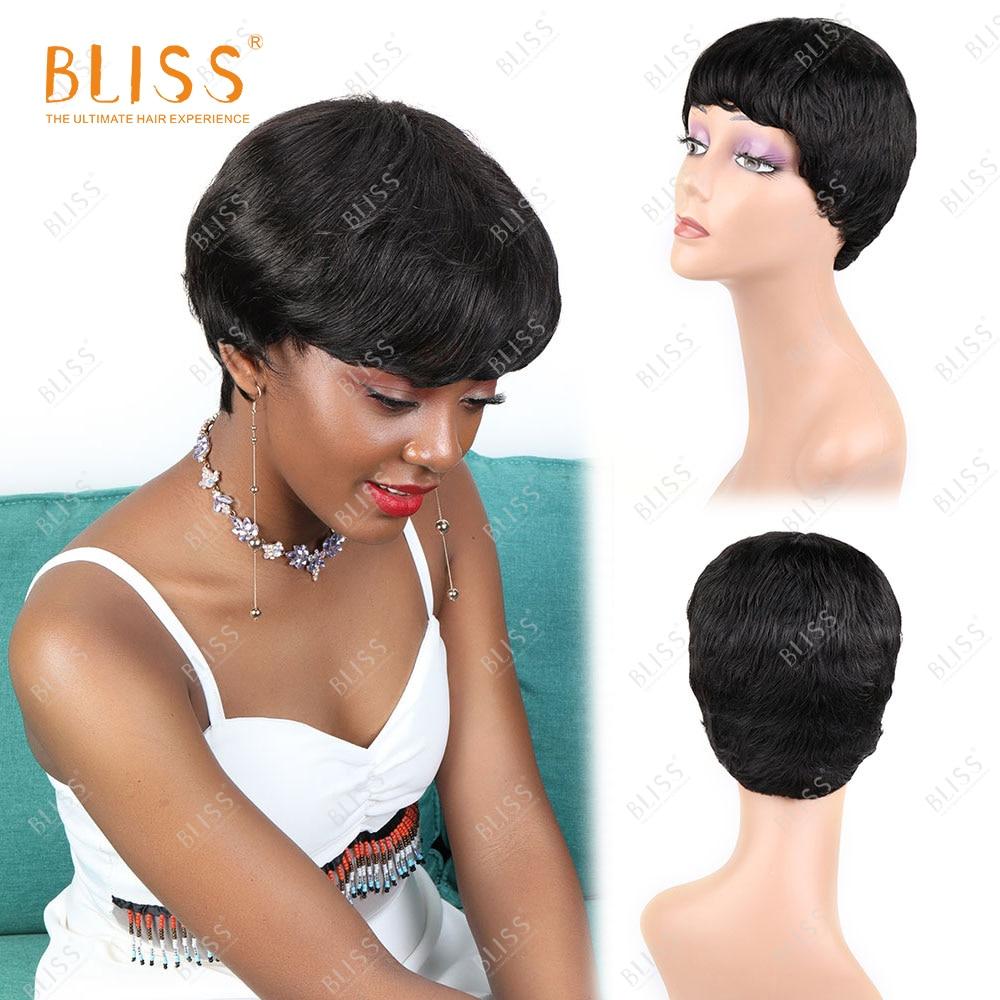 BLISS kısa peri kesim düz Bob peruk olmayan dantel kadın peruk peruk siyah kadınlar için patlama ile ucuz makine peruk