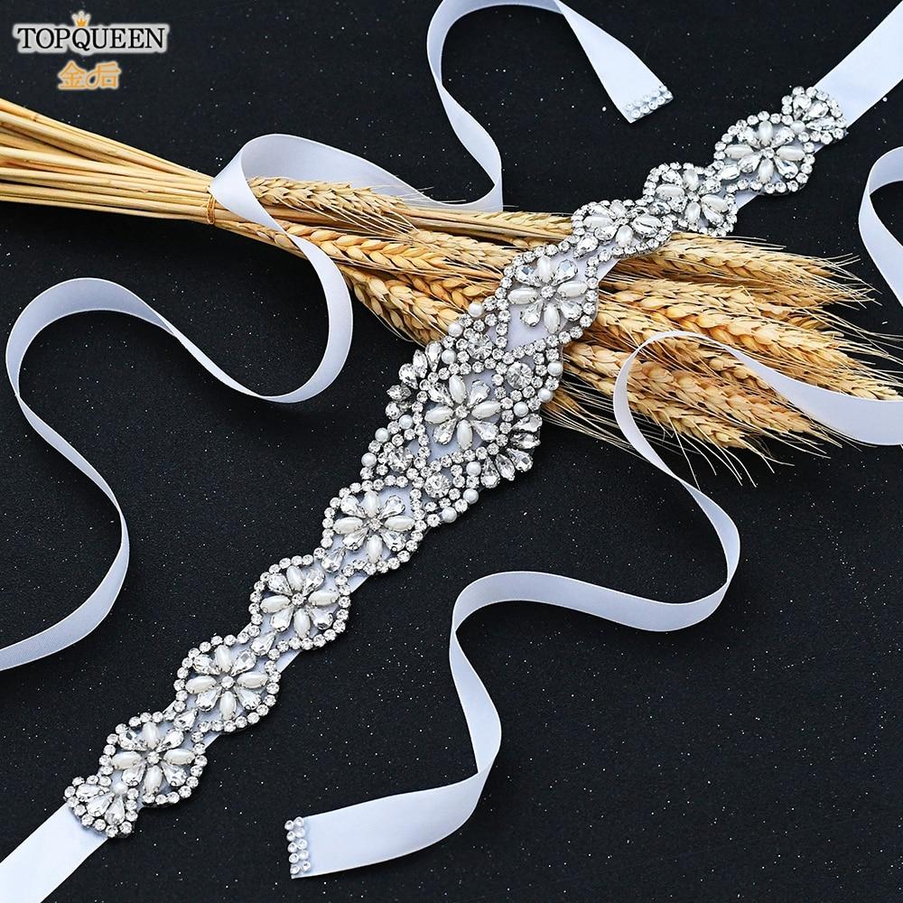 TOPQUEEN S161 White Wedding Belt Silver Rhinestone Belt Accessories for Bride Crystal Formal Dress Belt Gown Sash Bridal Belt