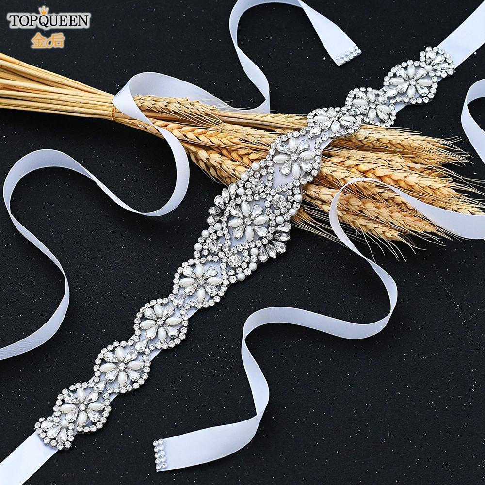 TOPQUEEN S161 White Wedding Belt Ivory Silver Rhinestone Belt Accessories for Bride Crystal Formal Belt Red Gown Sash Bride Belt