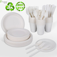 300pcs White Degradable Tableware Party Disposable Tableware Cup Plate 1st Birthday Party Decor Kids Baby Shower Party Supplies