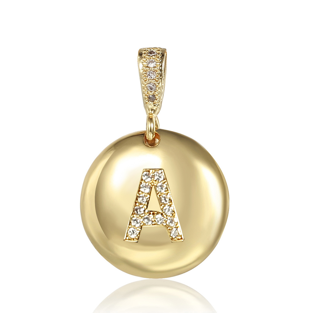 Kadın kızlar altın İlk 26 harfler CZ kolye en kaliteli bakır zirkon adı yuvarlak Charm takı aksesuarları toptan GP423