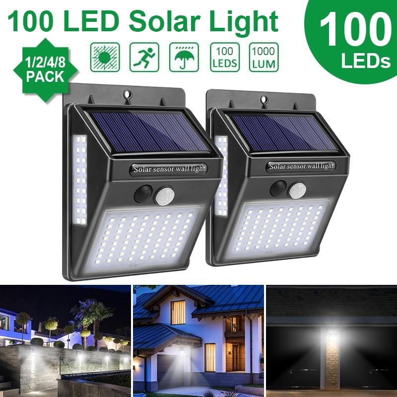 Goodland éclairage extérieur 100 LED solaire applique murale étanche lampe extérieure LED avec PIR capteur de mouvement lumière extérieure pour la rue