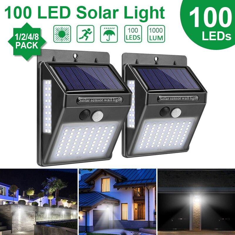 Goodland Outdoor Lighting 100 LED Solar Wall Light Waterproof Outdoor Lamp LED With PIR Motion Sensor Exterior Light for Street