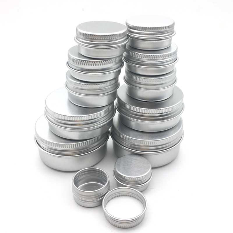 100PCS Aluminum Tin Jars 5g 10g 15g 20g 30g 50g 60g Metal Empty Cosmetic Face Care Eye Cream Lip Balm Gloss Packaging