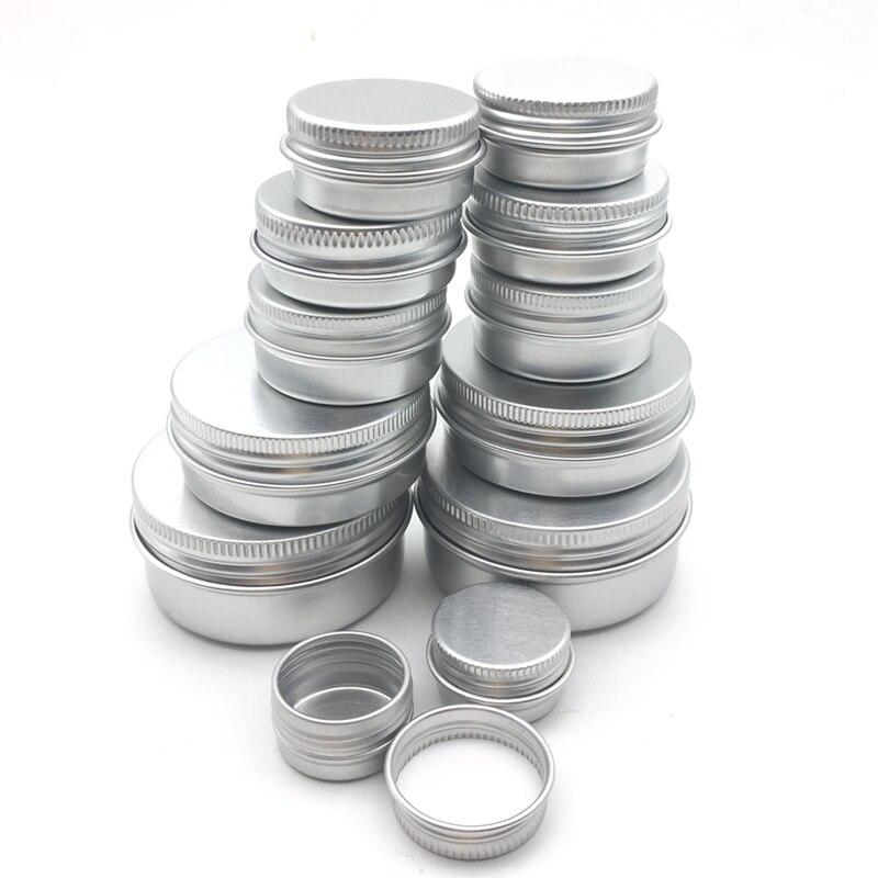 100PCS Aluminum Tin Jars 5g 10g 15g 20g 30g 50g 60g Metal Empty Cosmetic Face Care Eye Cream Lip Balm Gloss Packaging