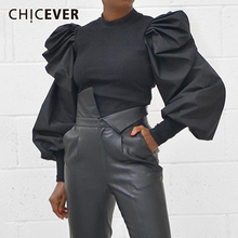 CHICEVER Causal Patchwork Knitting Ruched Womens Sweaters O Neck Lantern Long Sleeve Sweater For Female Fashion Clothes New