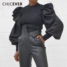 Женский вязаный свитер CHICEVER, Повседневный свитер с рюшами, круглым вырезом и длинными рукавами фонариками, модная одежда для женщин