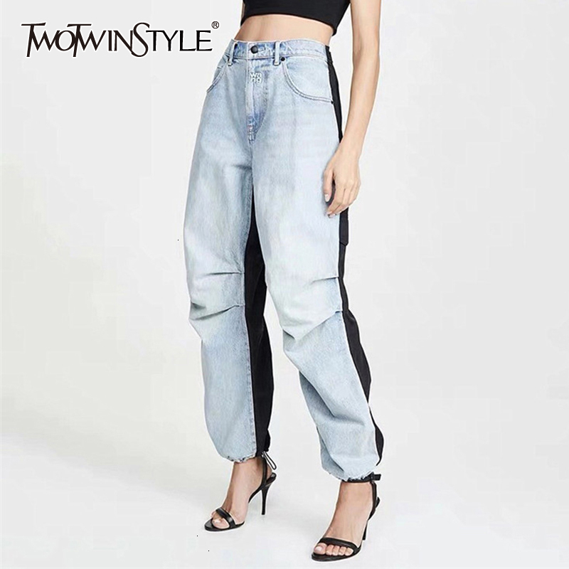 TWOTWINSTYLE Vintage Hit Color Denim Women's Trousers High Waist Ruched Straight Jeans For Female 2019 Autumn Fashion Tide