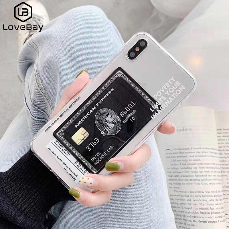 Lovebay Transparent Express Card Phone Case For iPhone 11 Pro Max X XR Xs Max Soft TPU Silicone Cover For iPhone 6 6s 7 8 Plus