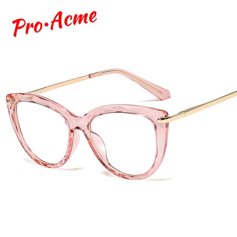 Pro acme óculos ópticos armação de óculos de olho de gato feminino óculos de óculos de óculos de moda transparente óculos falsos accesorios mujer cc1422