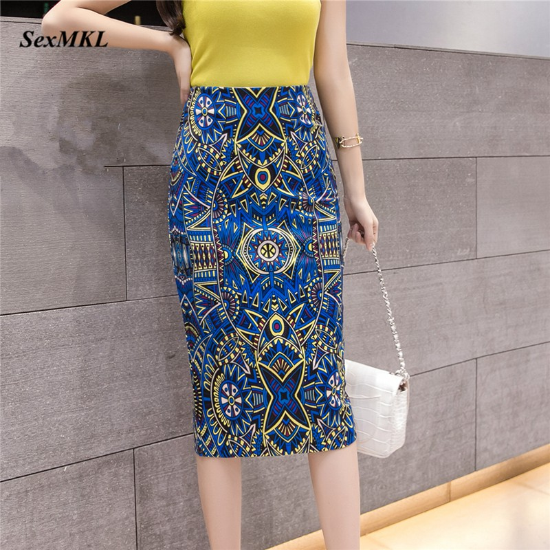 SEXMKL Knee Length Printed Pencil Skirts Womens 2020 Korean Fashion High Waist Skirt Office Sexy Lady Elegant Summer Plain Skirt