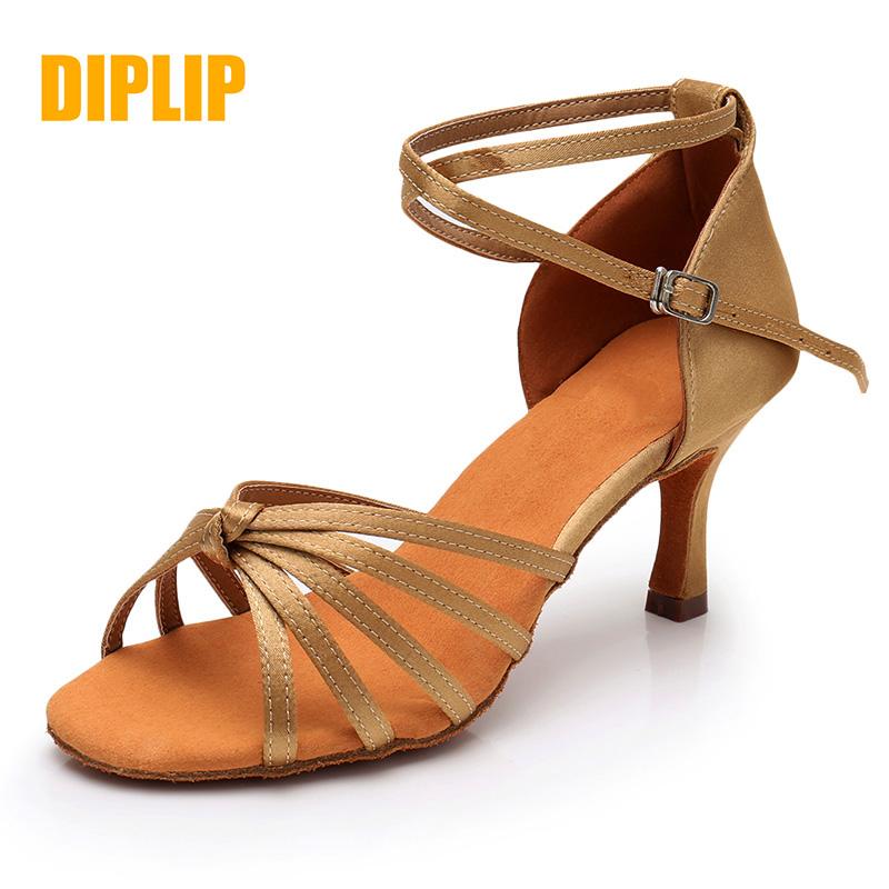 DIPLIP New Latin Dance Shoes For Women Girls Tango Salsa Ballroom Dance High Heels soft Dancing Shoes 5/7cm Ballroom Dance