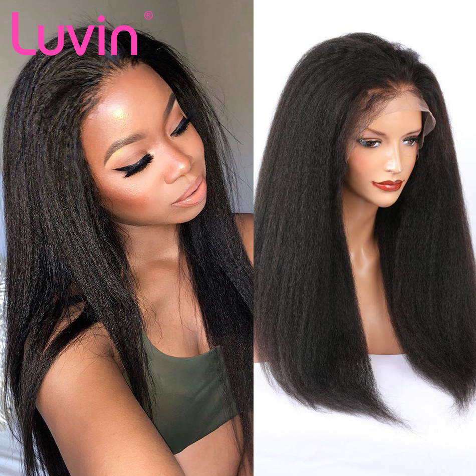<font><b>Luvin</b></font> Malaysian Kinky Straight Lace Front Human <font><b>Hair</b></font> Wigs Afro Remy <font><b>Hair</b></font> Wigs For Black Women Long Lace Frontal Wig image