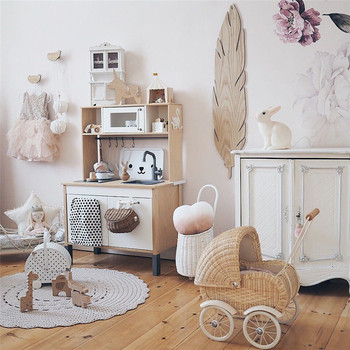 Baby Photograph Props INS Handmade Rattan Stroller Doll Accessories Kids Room Decoration Retro Woven Trolley Play House Toy Cart