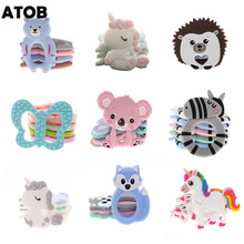 ATOB 10pcs Baby Teethers Koala Rodent unicorn Safe Chewable Food Grade Baby Teething Toys Pacifier Pendant Necklace Accessories
