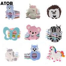 Mordedor de bebê atob 10 peças, peça de chupeta de koala roedor unicórnio seguro, mastigação alimentar, brinquedos da dentição do bebê, colar de pingente, acessórios