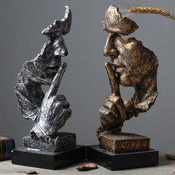 13 cal sztuka z żywicy ciszy maska figurki rzeźby abstrakcyjne cisza jest złote statuetki miniatury rzeźbione dekoracyjne ozdoby w Posągi i rzeźby od Dom i ogród na