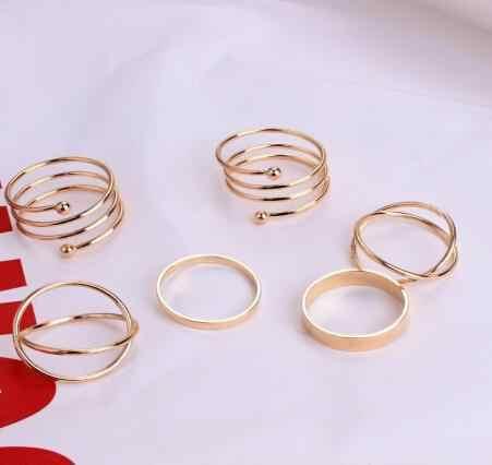 קוריאני טבעת סטי טבעות לנשים פשוט פופ תכשיטי זהב טבעת אופנה טבעות 2019 נשים סיטונאי