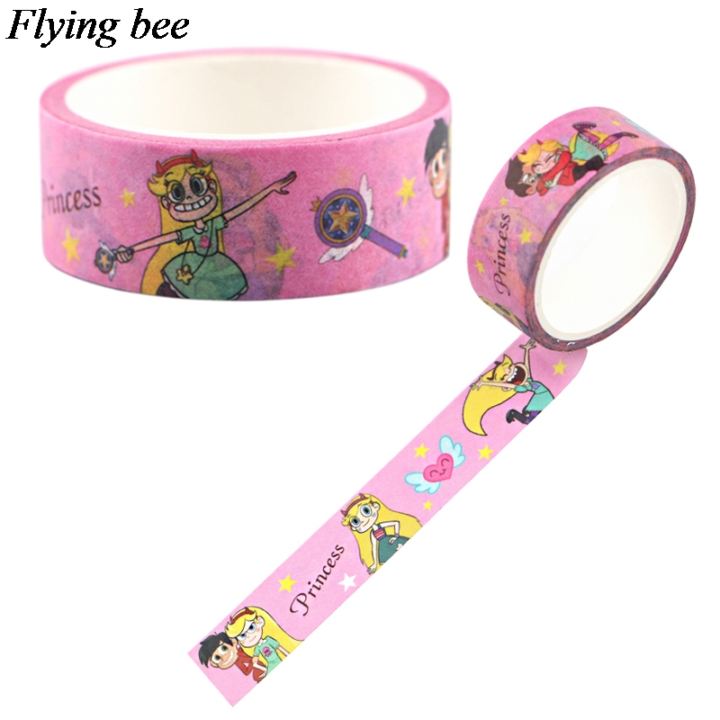 Flyingbee 15mmX5m Creative Theme Washi Tape Paper DIY Decorative Adhesive Tape Cartoon Funny Masking Tapes X0687