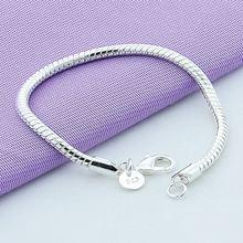 Heißer Verkauf 925 Sterling Silber 4mm Schlange Kette Armband Für Frauen Männer Mode Schmuck Großhandel