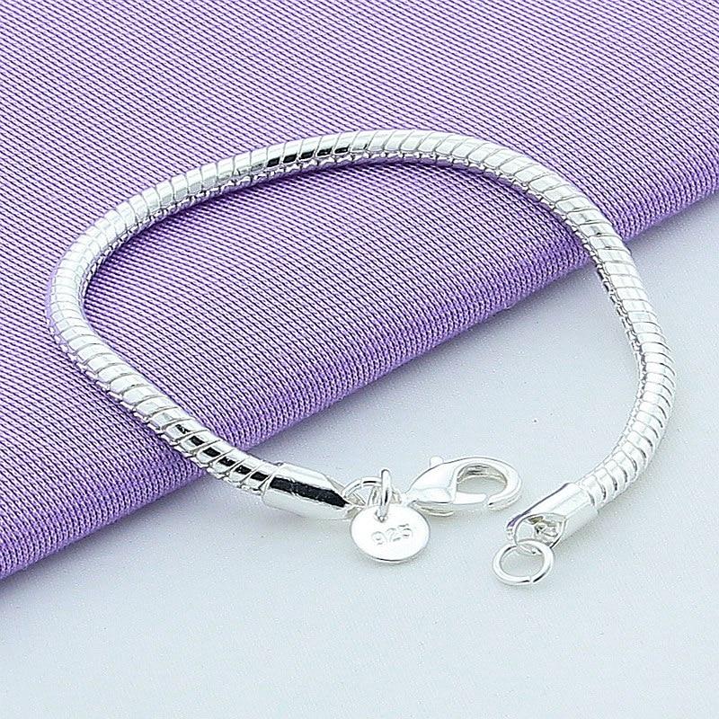 Hot Sale 925 Sterling Silber 4mm Schlangenkette Armband für Frauen Männer Modeschmuck Großhandel