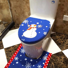 brand new Flannel Christmas Decoration Christmas Snowman Lid Single Toilet Cover toilet seat cover toilet seat bathroom tool