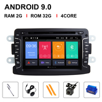 IPS DSP Car dvd player Android 9 Automotivo 2 Din For Dacia/Sandero/Duster/Renault/Captur/Lada/Xray 2/Logan 2 RAM 4G Camera
