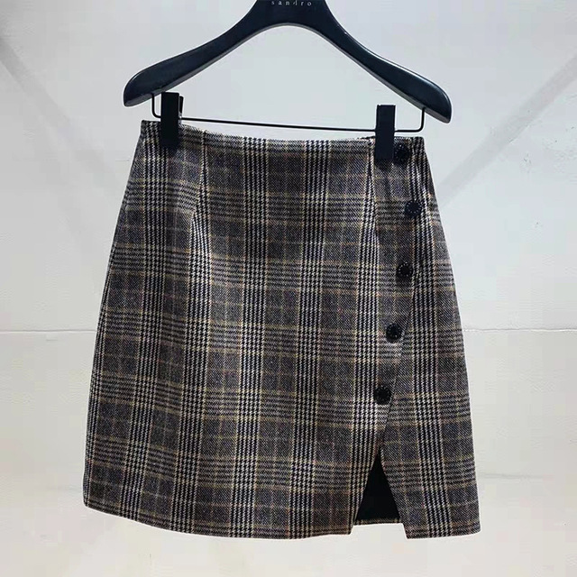 Women Plaid Skirt 2019 New Autumn Winter Side Buttons Irregular Split Mini Skirt Office Lady Clothes