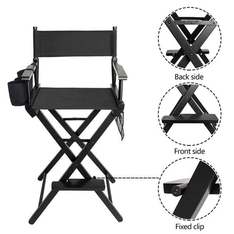 Chaise de maquillage pliante chaise de salon de beauté haute qualité solide bois dur et Polyester noir directeurs salon de coiffure chaise de coiffure