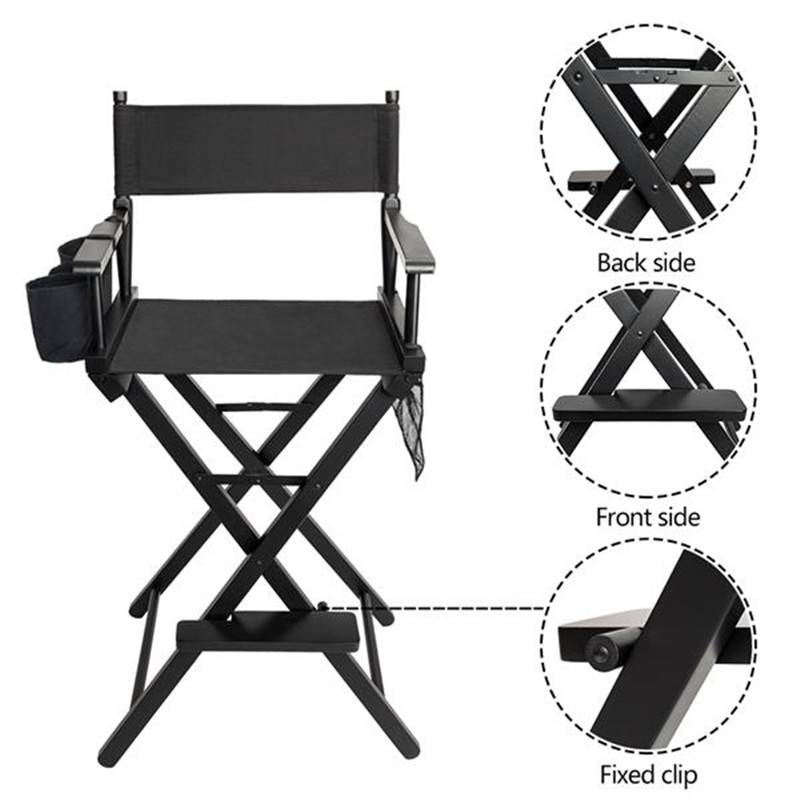 Folding Makeup Chair Beauty Salon Chair High Quality Solid Hardwood & Polyester Black Directors Barber Salon Hair Chair