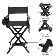 Folding Makeup Chair beauty salon chair High Quality Solid Hardwood & Polyester Black directors barber hair