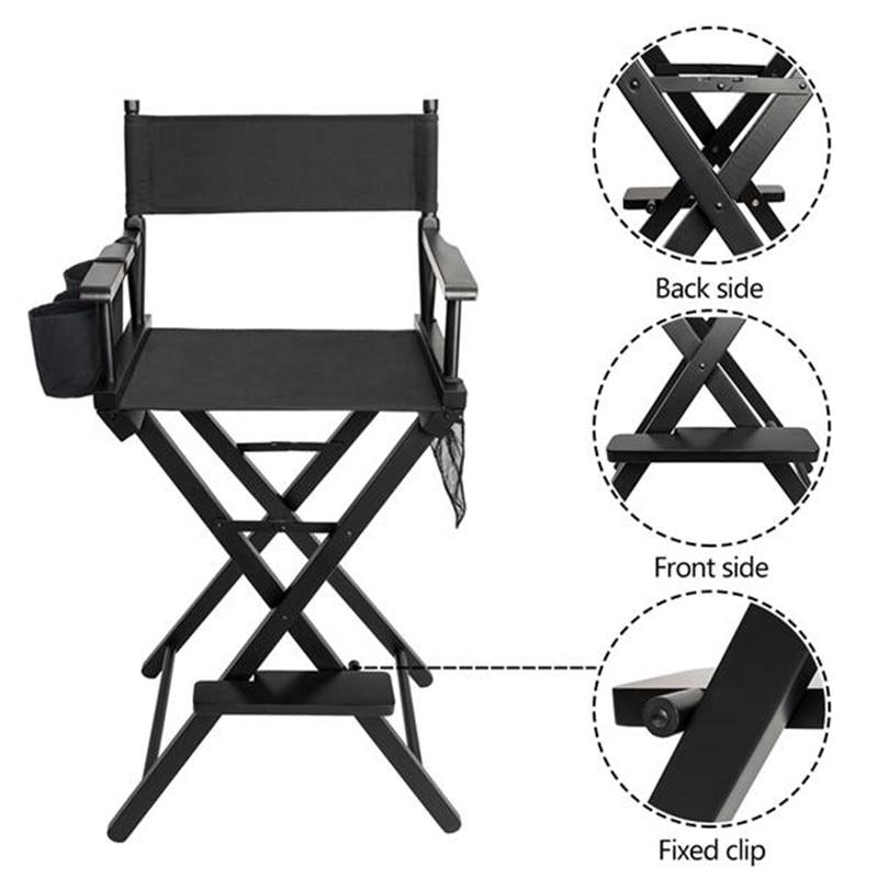 Folding Makeup Chair beauty salon chair High Quality Solid Hardwood & Polyester Black directors barber salon hair chair