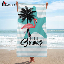 Miracille Flamingo Bath Towel 3D Printed Bathroom Tropic Beach Towel For Adults Quick-Dry Microfiber Fabric 75x150cm Gym Towels france flag printed beach towel outdoor bath towel yoga mat microfiber fabric beach towel for adults